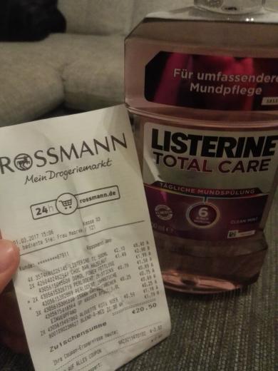 Listerine 500mL, Rossmann, Green Label 2,10€, - 10% möglich