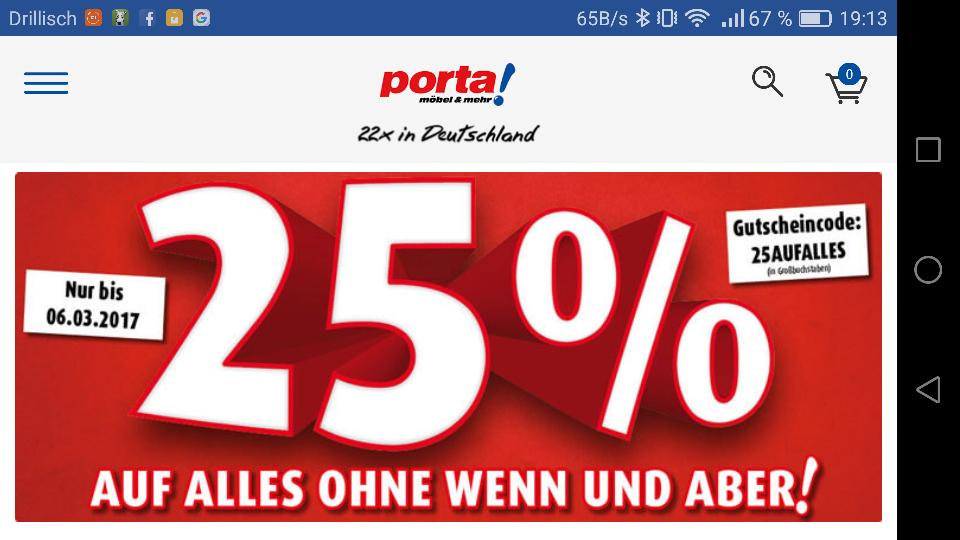 [Porta] 25 % auf alles bis zum 06.03.17