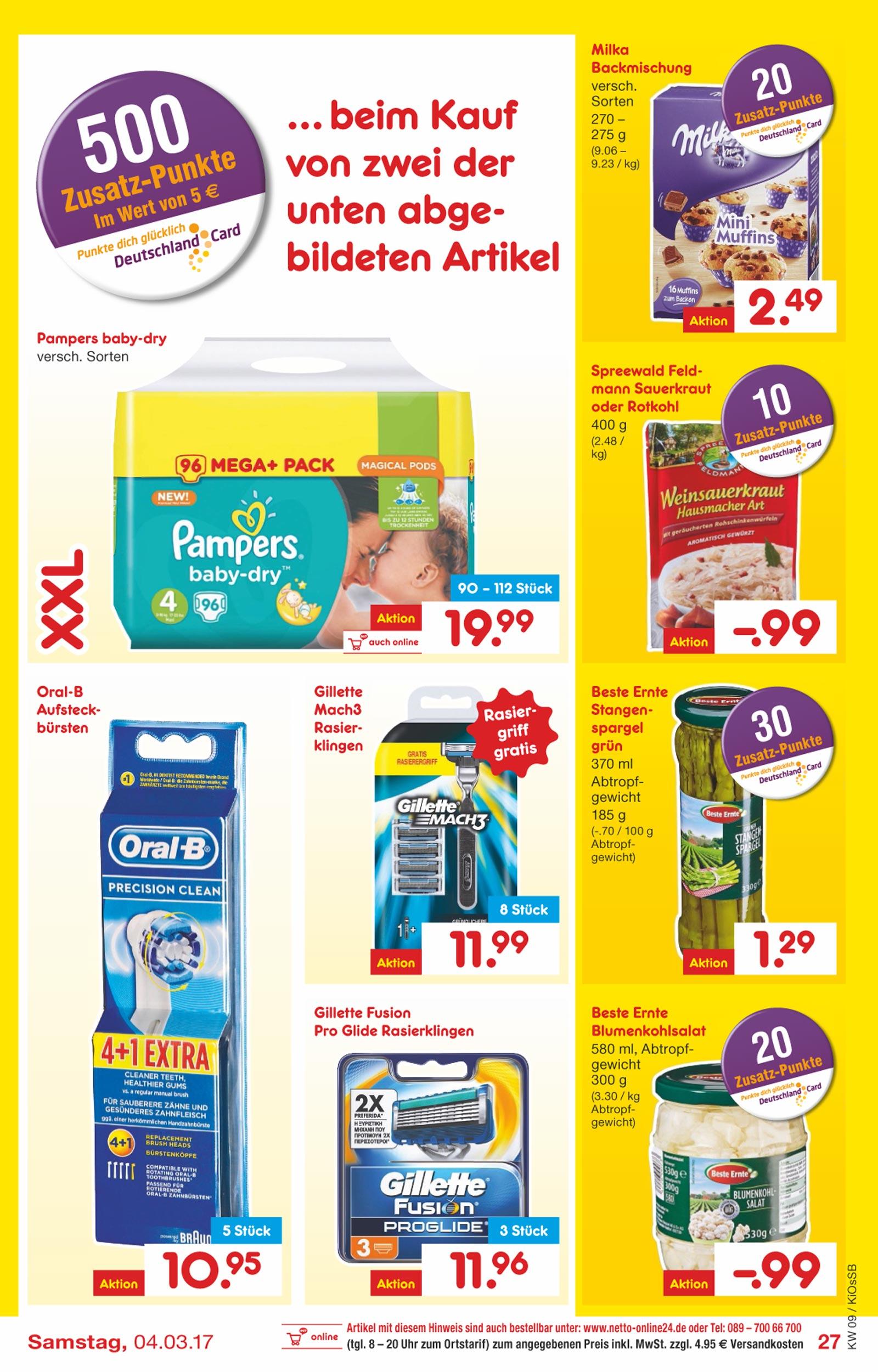 Netto Marken-Discount + DC Card + Netto App, Freitag 03.03.2017: 16 Gilette Mach 3 Klingen + 2 Handstücke für 15,98 €