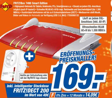 Lokal Gießen: FritzBox 7490 inkl. FritzDect 200 für 169€