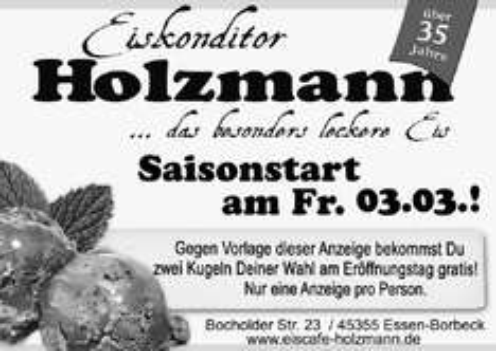[Lokal Essen-Borbeck] 2 Kugeln Eis gratis bei Eiskonditorei Holzmann in Borbeck