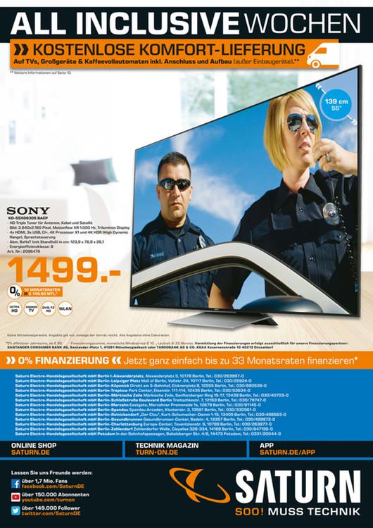 [Saturn Berlin] Sony KD-55XD9305 BAEP UHD 4K Fernseher