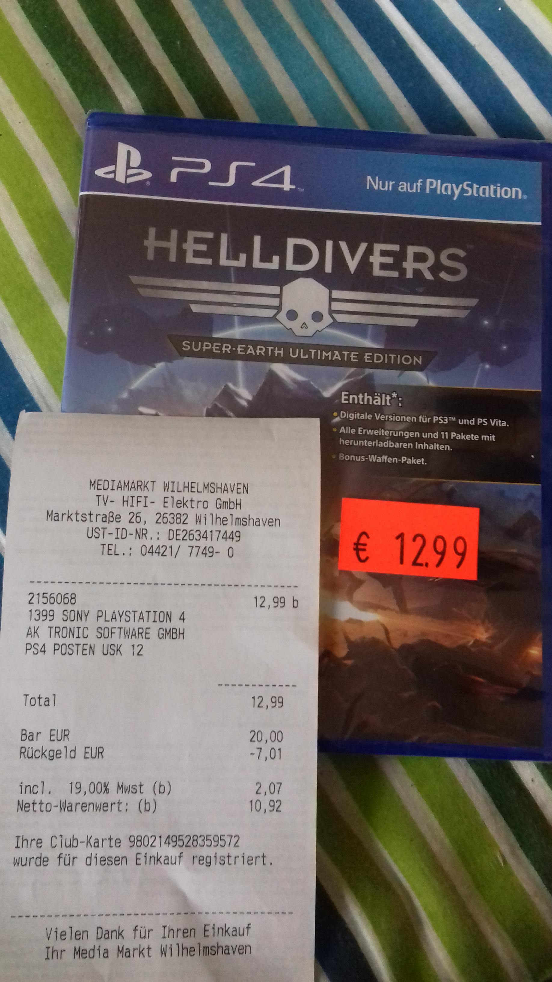 Helldivers  für PS4 nur 12,99 Euro (Lokal in Wilhelmshaven )