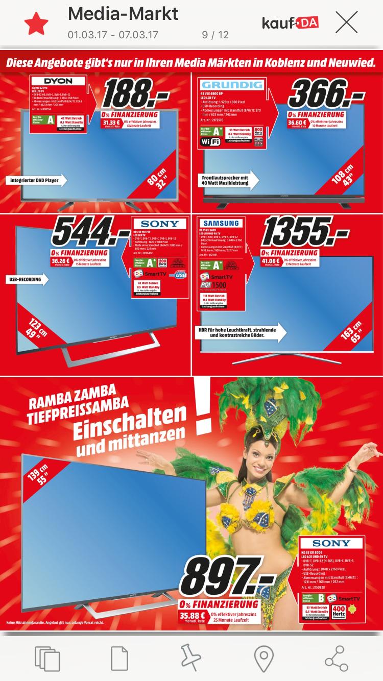 Sony 55 xd 8005 Media Markt Koblenz [Lokal]