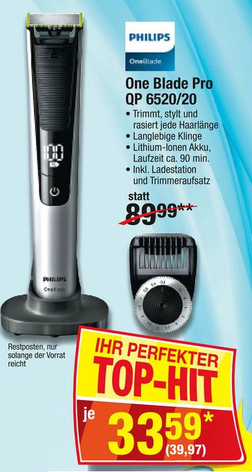 Philips OneBlade Pro QP6520/20 zum trimmen und rasieren für 39,97€ bei Metro, VGP: 62,59€