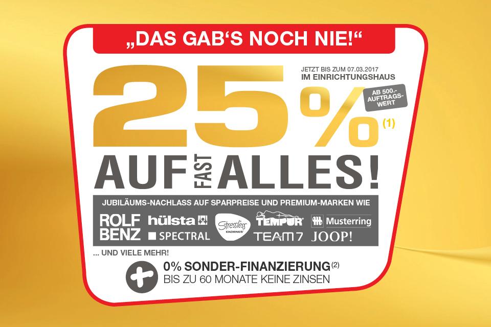 Hofmeister 25 % Jubiläums-Nachlass auf fast alles +  Trendy 12,5 % Jubiläums-Nachlas auf fast alles