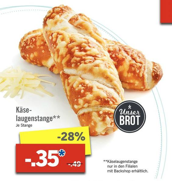 [Lidl ab 6.03.] Käse-Laugenstange für nur 0.35€ (28% gespart)