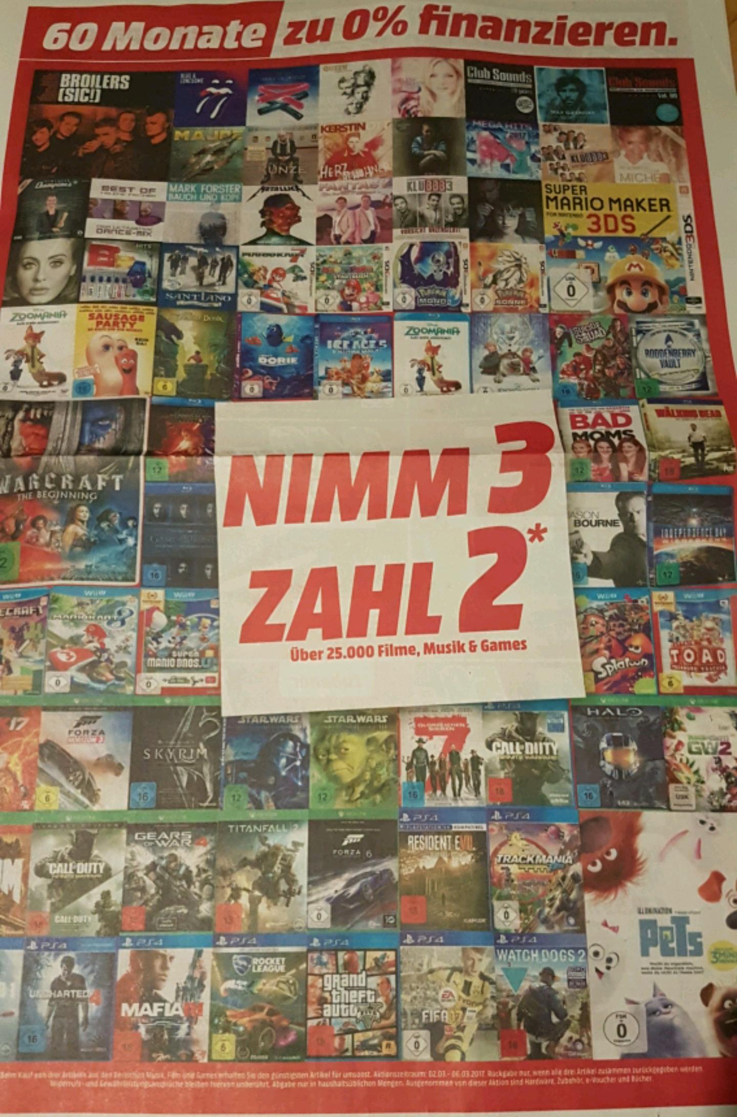 (lokal) Mediamarkt Nordhorn 3 für 2 Deal bis zu 33%
