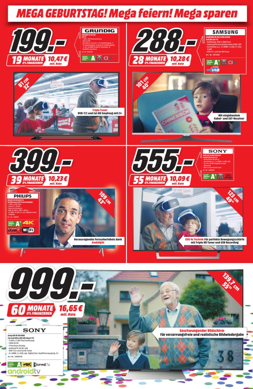 Sony 55SD8505 für 999,- euro anstatt 1219,- (UHD HDR Anroid TV) / Samsung UE55KU6079 für 599,- euro anstatt 678,- /  Panasonic TX65DXW784 für 1699,- anstatt 1969,- [Sammeldeal Media Markt Nordhorn Geburtstagsangebote]   (Bundesweiter Versand möglich)