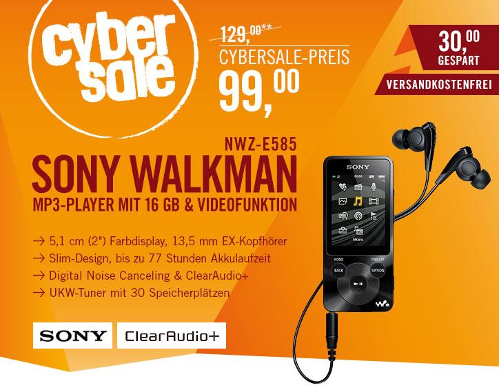 [Cyberport]Cybersale Sony Walkman NWZ-E585 16GB schwarz