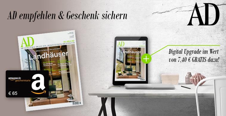 [MAGCLUB] 10 Ausgaben AD Architectural Digest (Print + Digital) für effektiv 3€ durch 65€ Amazon-Gutschein