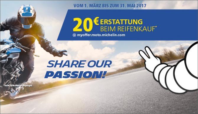 Michelin Motorradreifenaktion 2017 - 20€ Cashback oder Tankgutschein