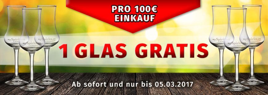 Gratis Schnapsglas pro 100 € Einkauf bei mySpirits.eu