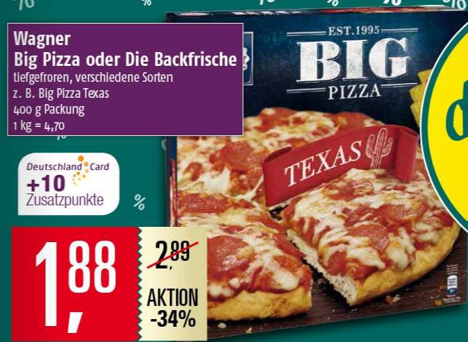 """Wagner """"Big Pizza & Backfrische"""" dank 1€ Coupon bei Kauf von 2 nur noch 1,38€ pro Packung [Marktkauf Center]"""