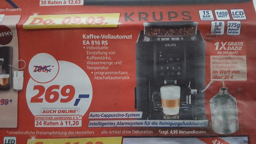 Krups Kaffeevollautomat EA 816 RS - LOKAL Real,- Espelkamp / Bundesweit?