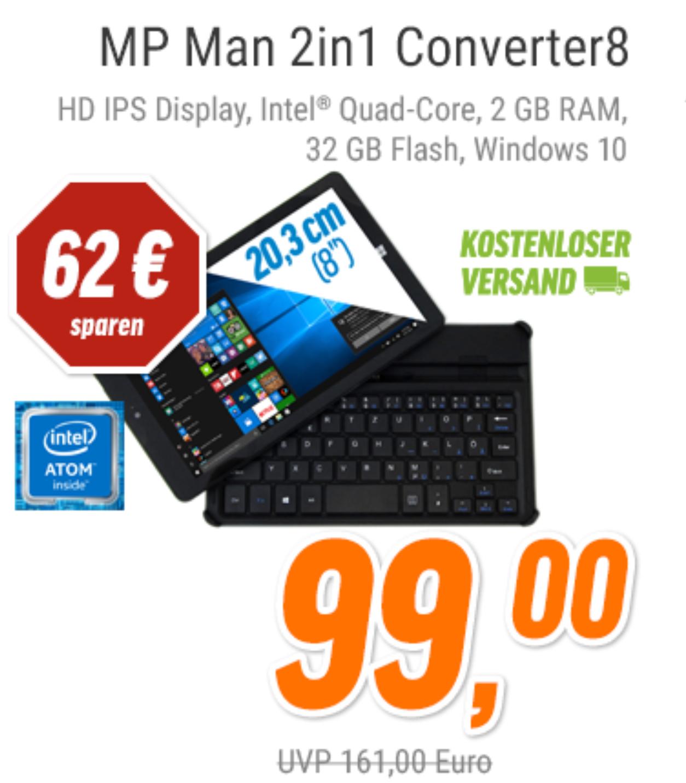 MP MAN Converter8 2in1 Tablet 2GB RAM VSK frei (Notebooksbilliger)