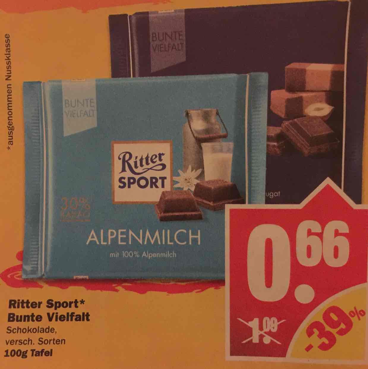 Ritter Sport Bunte Vielfalt für 0,66€ bei NP / 0,79€ bei Lidl