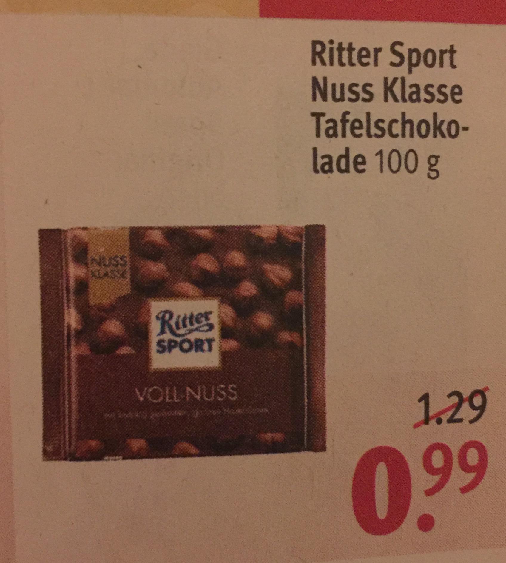 [Rossmann] Ritter Sport NUSSKLASSE für 0,99€ (0,89€ mit 10% Gutschein möglich)