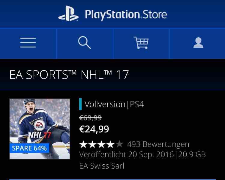 EA SPORTS NHL 17 für 24.99€ im PSN STORE