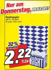 [Marktkauf Nordbayern am 09.03.2017] 500 Blatt Kopierpapier DIN A4 - Farbe: weiß, 80 g/m²