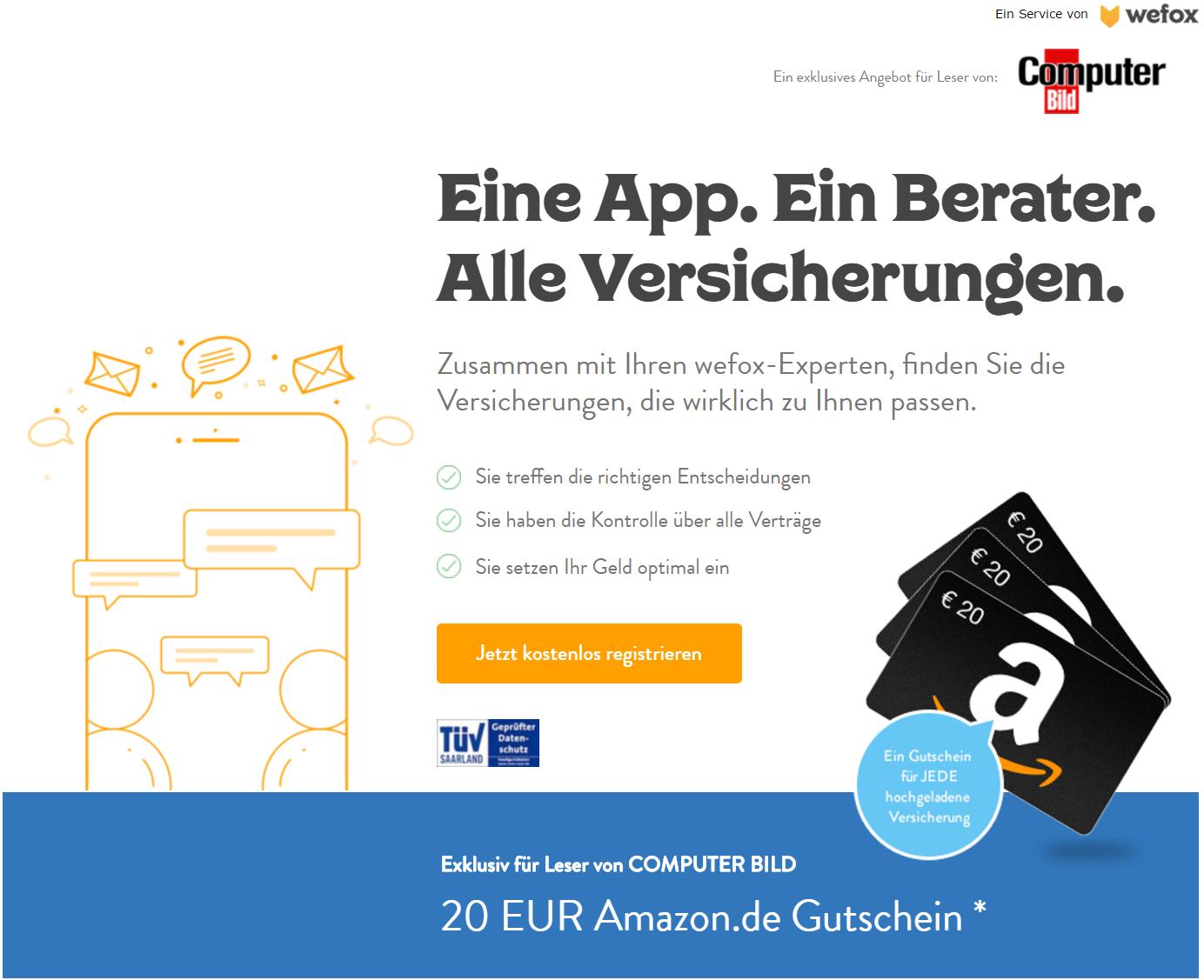 wefox Versicherungs-App mit bis zu 200 Euro Amazon Gutschein über computerbild.de bei Kontoerstellung