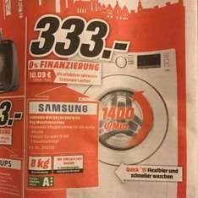 Samsung Waschmaschine WW80J34D0KW/EG (lokal MediaMarkt Frankfurt Enkheim)