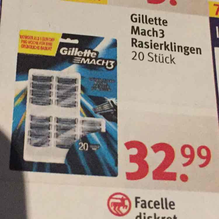 [Rossmann] 20x Gillette Mach3 Rasierklingen