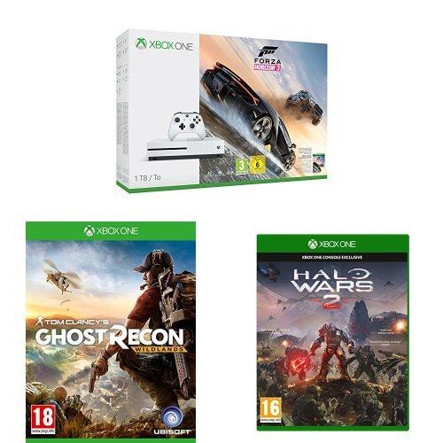Microsoft Xbox One S 1TB Konsole + Tom Clancy's Ghost Recon: Wildlands + Forza Horizon 3 + Halo Wars 2 für 321 Euro (Amazon.co.uk)