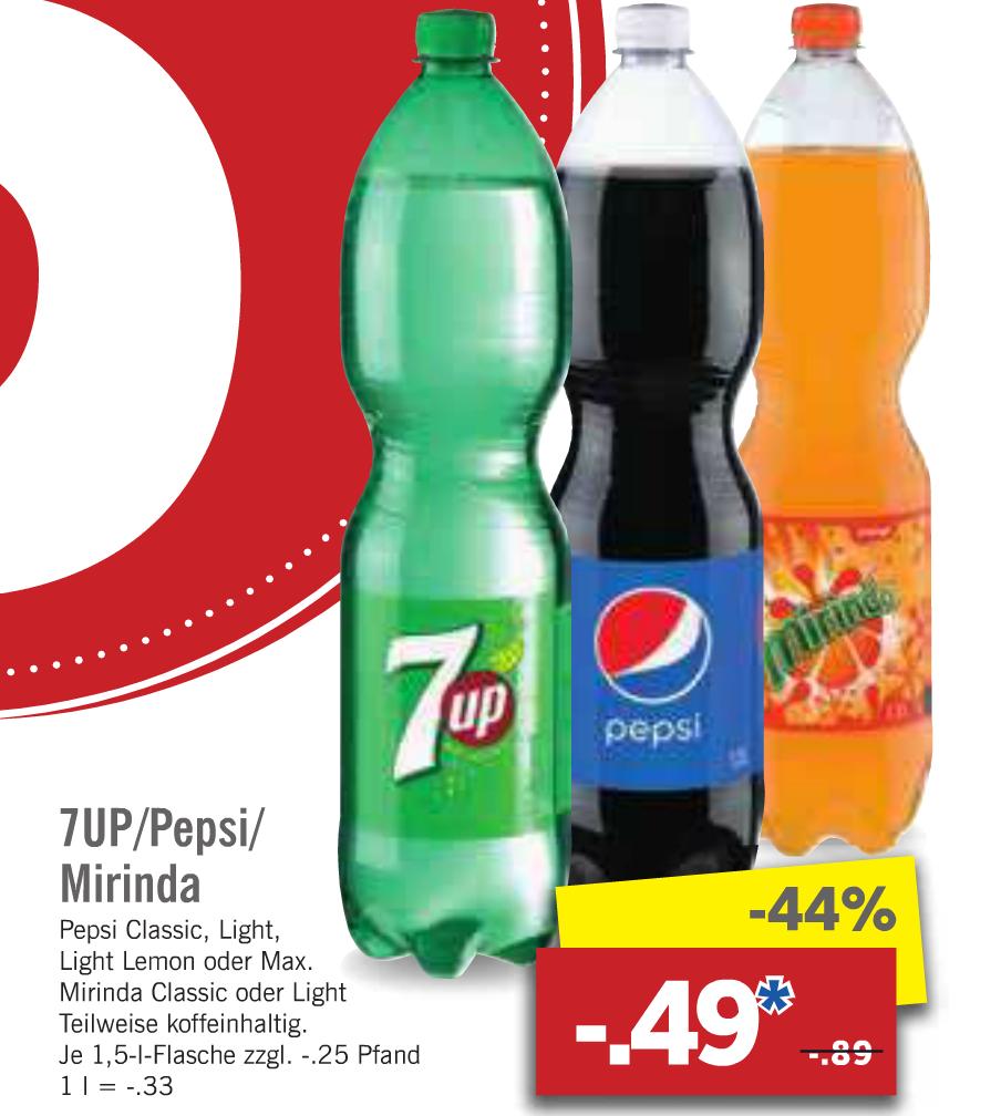 [Lidl ab 13.03.] Pepsi, 7UP & Mirinda versch. Sorten 1,5l für 0,49€ (0,33€/l)