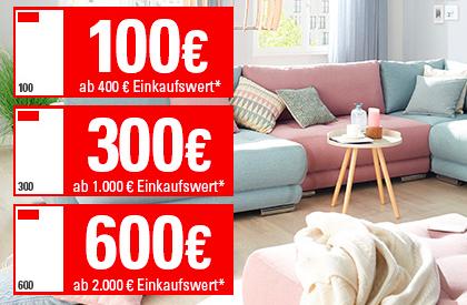 Staffelrabatt ab 100€ bis zu 3000€ sparen ab 400€ Einkaufswert (außer Sale) bei Höffner