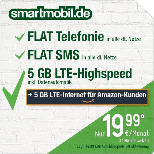 Amazon: smartmobil 10 GB LTE im O2 Netz | Telefonie Flat | SMS Flat | 19,99€/Monat