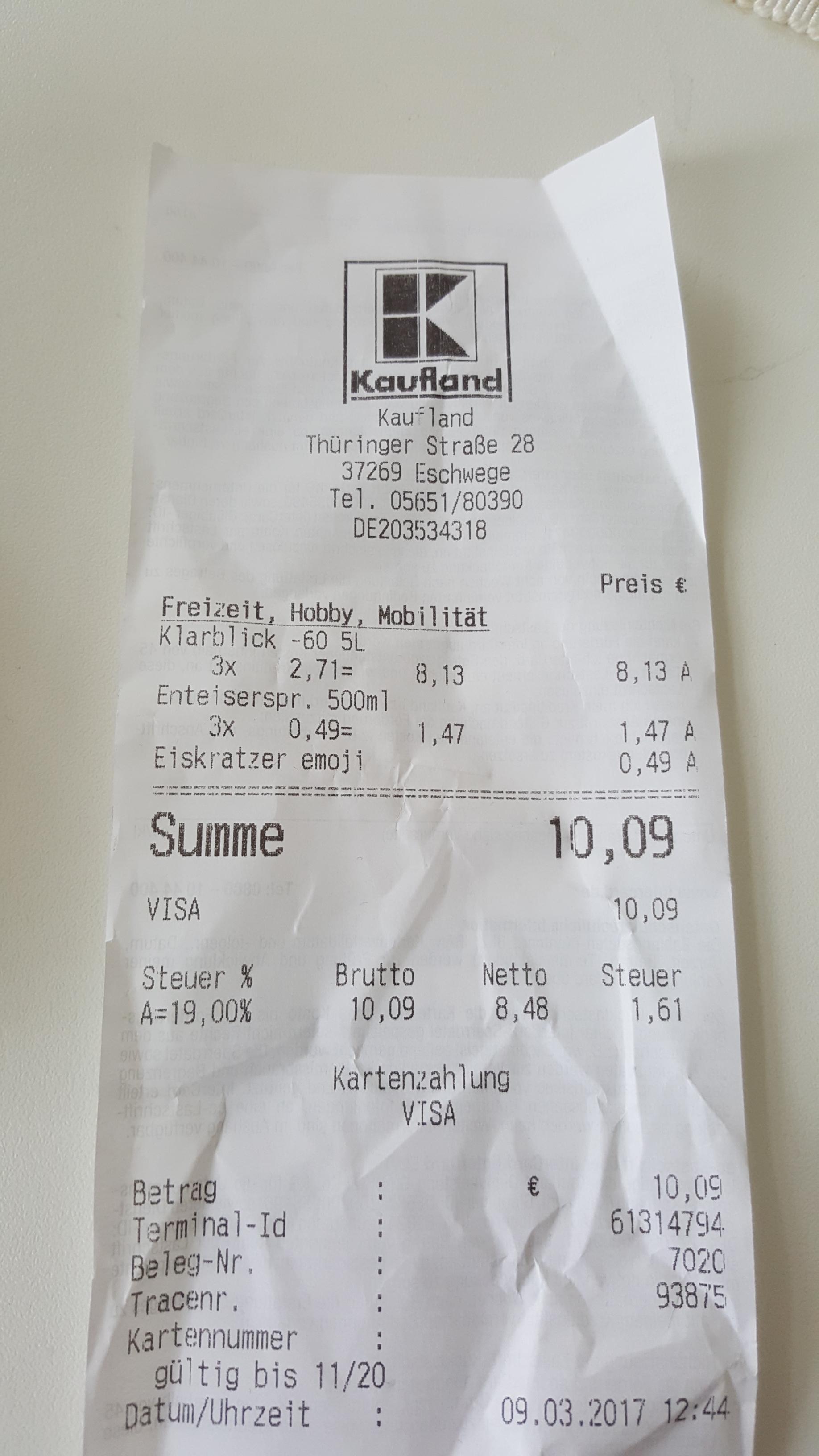 Lokal Eschwege Kaufland - Frostschutz -60 °C 5 Liter 2,71 €