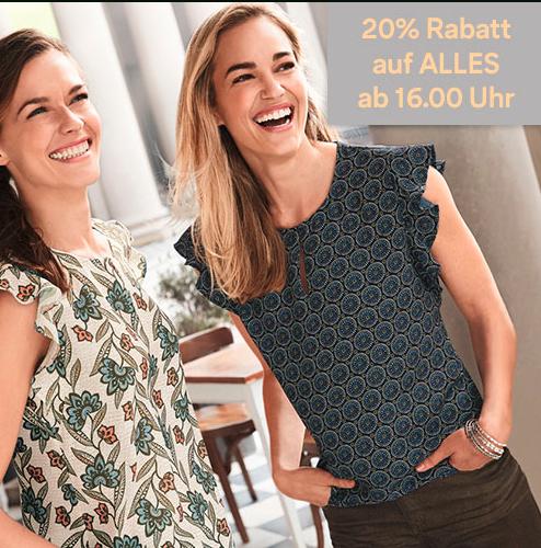 Nur heute ab 16 Uhr 20% Rabatt auf ALLES inkl. Sale [C&A] online: 16-24 Uhr + offline 16 - Ladenschluss