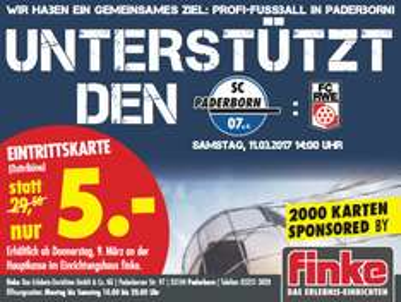 [Möbel Finke Paderborn] Sitzplatztickets für SC Paderborn - Rot-Weiß Erfurt (11.03. 14 Uhr) für 5 € statt 29,95 €