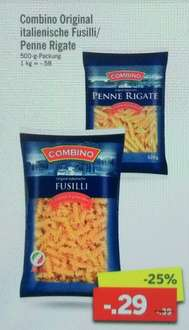 [Lidl ab 13.03.] Combino Nudeln (Penne Rigate oder Fusilli) 500g Packung für 0,29€