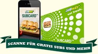 [Subyway] Subcard 100 Bonus-Punkte bei jeder Bestellung ab 0.01€