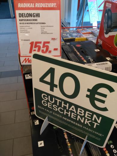 Lokal Media Markt Mainz Nespresso Lattissima + für 155€