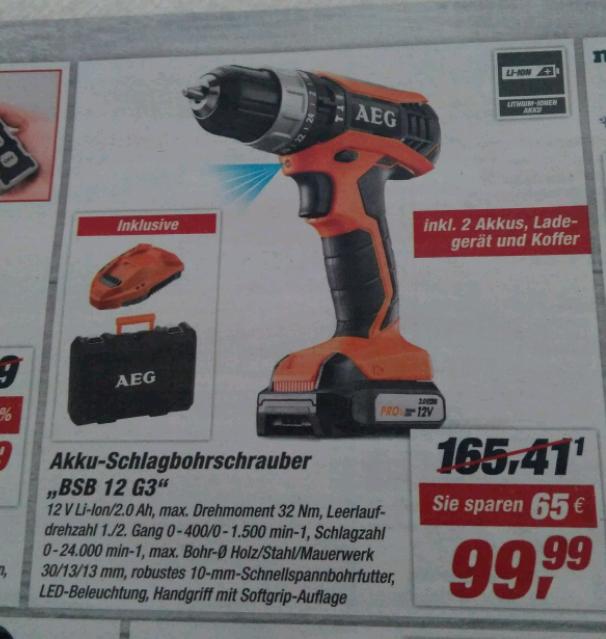 AEG BSB 12 G3 Schlagbohrschrauber für 99,99€