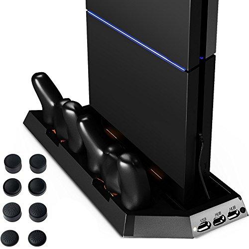 Zacro® PlayStation 4 - DualShock 4 Ladestation PS4 Standfuß Vertikalständer PS4 Kühler Lüfter mit Ladestation und 8 Stück Thumbstick Kappen für PlayStation 4 PS4 Controller, Multifunctional
