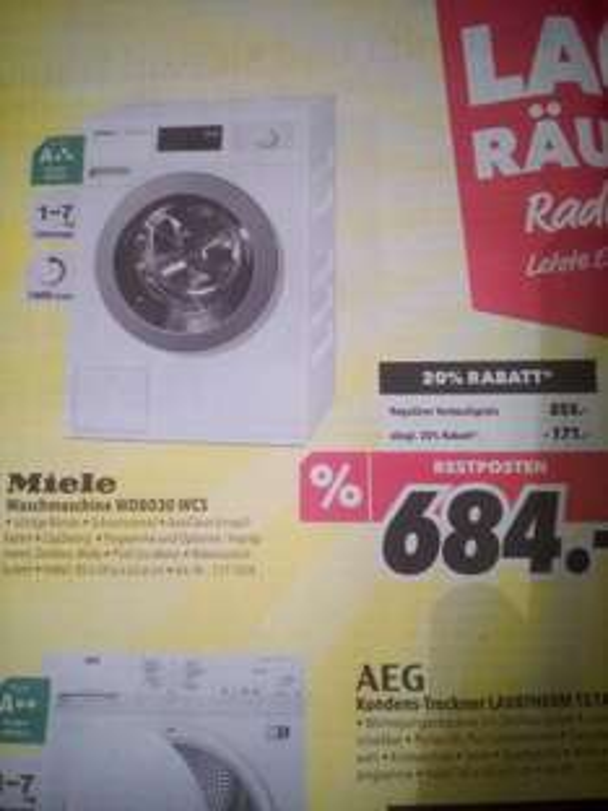 (Lokal) Medimax Miele A+++ Waschmaschine WDB030 WCS für 684€