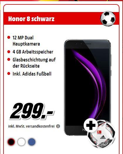 Honor 8 Smartphone (5,2 Zoll FullHD-Display, 32GB interner Speicher, 4GB RAM, Hisilicon Kirin 950, LTE Band 20, 12 MP Hauptkamera, 3D-Fingerabdrucksensor, Vollmetallgehäuse, Dual-SIM, MicroSD, QuickCharge, Android 7.0) + Fußball für 299€ [Mediamarkt]