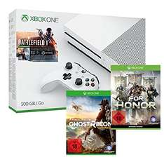 Xbox One S 500GB Battlefield 1 Bundle + Tom Clancy's: Ghost Recon Wildlands + For Honor [amazon.de]