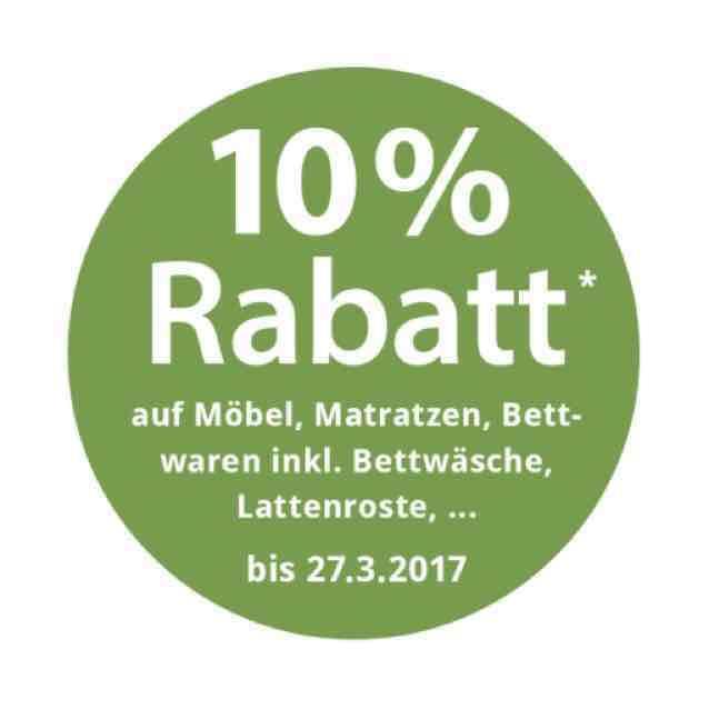 10% Rabatt auf alle Möbel, Matratzen, Bettwäsche uvm. bei Grüne Erde bis 27.03.2017
