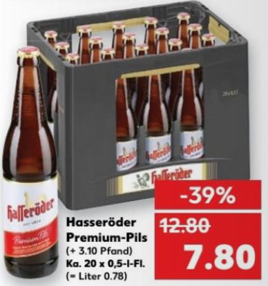 Kiste Hasseröder Premium Pils für 7,80 € (+ Pfand) @ Kaufland bundesweit ab 16.3.17