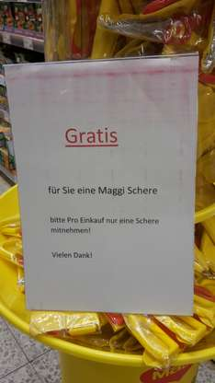 [Globus lokal Gensingen, ggf weitere] Schere gratis zum Einkauf eines beliebigen Produkts