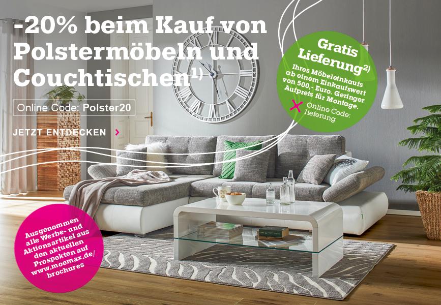 20% Rabatt auf Polstermöbel und Couchtische bei Mömax, z.B. 2-Personen-Gästebett mit Lattenrost für 165,15€