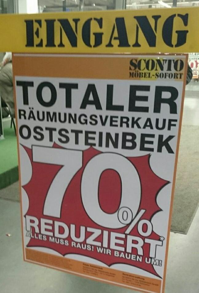 [Lokal] SCONTO Räumungsverkauf in Hamburg/Oststeinbek