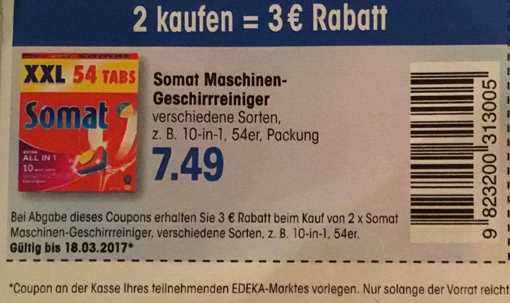 Edeka neukauf & aktivmarkt: 2x Somat XXL für 11,98€ mit Coupon (z.B. Gold 96 St., 10in1 108 St.,...)