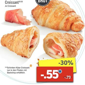 [Lidl ab 20.03.] Schinken-Käse-Croissant für 55 statt 79 Cent