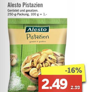 [Lidl ab 20.03.] Alesto Pistazien geröstet & gesalzen 250g für 2,49€ (oder im Onlineshop)